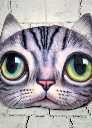 Декоративная подушка с 3d принтом кошка кот котик кошечка, 35х36 см, серая