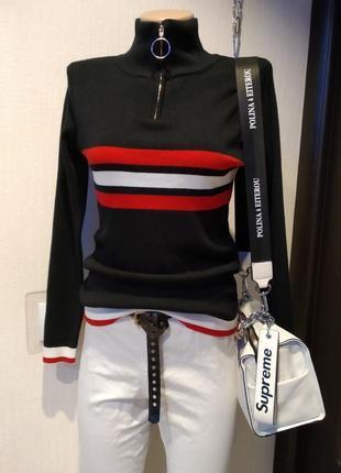 Стильная брэндовая теплая водолазка свитер джемпер черный с молнией