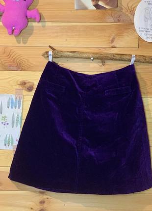 Фиолетовая велюровая юбка