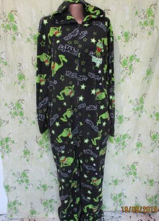 Теплый флисовый слип/кигуруми/костюм домашний/пижама/притнт жабки