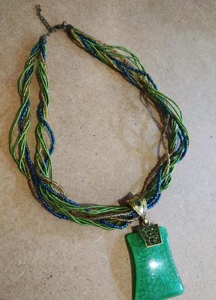 Ожерелье с изумрудной подвеской