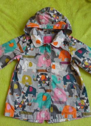 Куртка курточка ветровка с капюшоном яркая дождевик плащ 4-5  лет со слонами принт