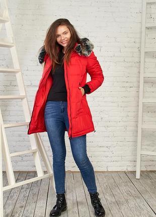 Женская зимняя куртка с мехом от black&red