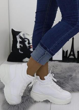 Новые шикарные женские белые осенние ботинки