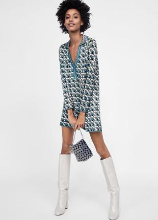 Жаккардовое платье zara c принтом в стиле фенди