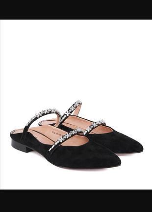 Замшевые туфли с открытой пяткой