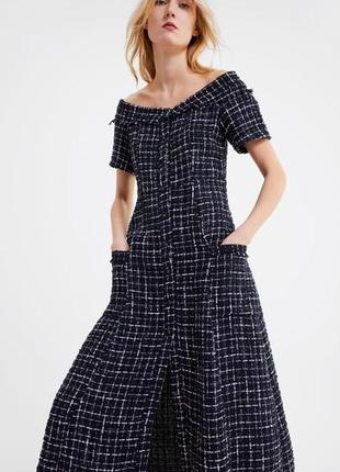 Теплое платье из твида в стиле шанель zara