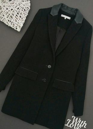 Пальто чёрное бойфренд шерстяное zara trafaluc