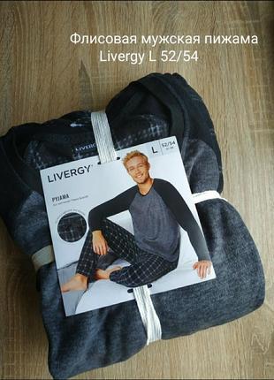 Теплая флисовая мужская пижама домашний костюм livergy l 52/54