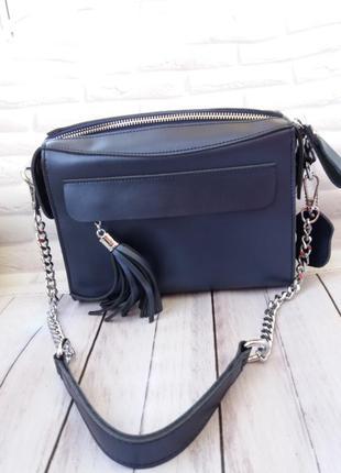 Женская кожаная сумка шкіряна жіноча синяя кожаный клатч женский