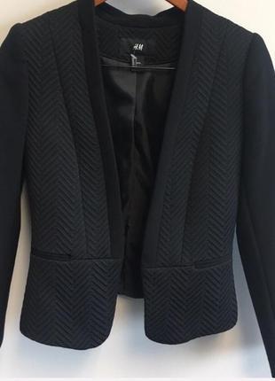 Текстурный шикарный черный пиджак, блейзер, приталеный