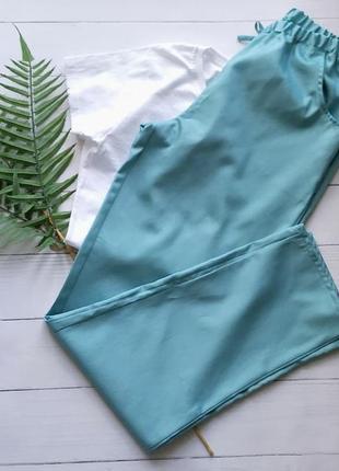 Домашняя пижама с бирюзовыми штанами