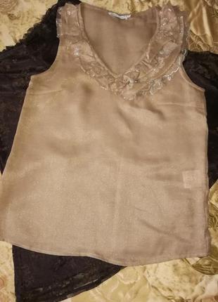 Симпатичная блуза с гипюровым воланом цвета кофе с молоком🌹