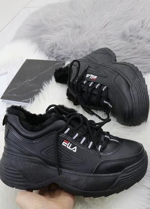 Новые шикарные женские черные зимние кроссовки