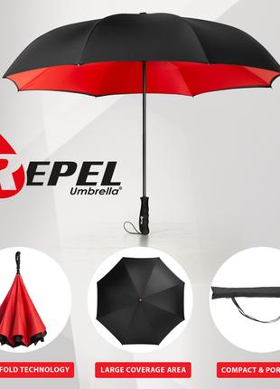 Качественный ветрозащитный зонт от repel, сша обратного сложения наоборот
