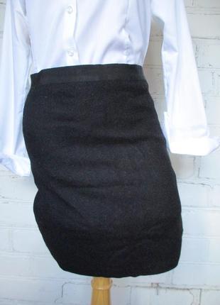Юбка мини черная шерстяная/теплая