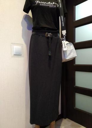 Отличная стильная базовая юбка карандаш макси трикотаж