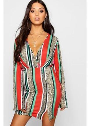 Короткое платье длинный рукав boohoo