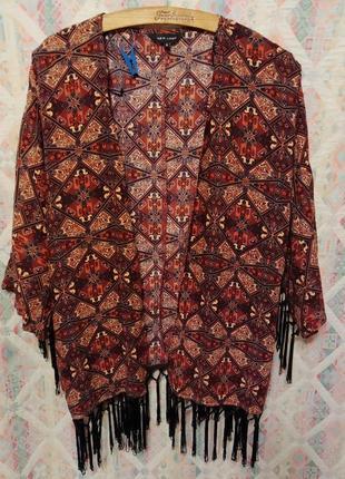 Кардиган, кимоно, накидка, бахрома, пляжная накидка блуза