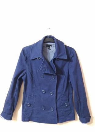 Классная джинсовая коттоновая синяя куртка тренч h&m размер 14-16