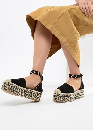 Босоножки туфли эспадрильи на плетеной платформе prettylittlething plt