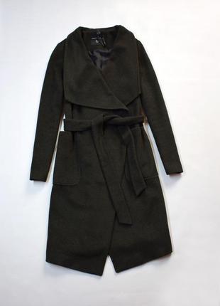 Пальто з поясом на запах, колір хакі
