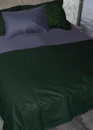 Постельное бельё комплект страйп сатин графитовый зеленый