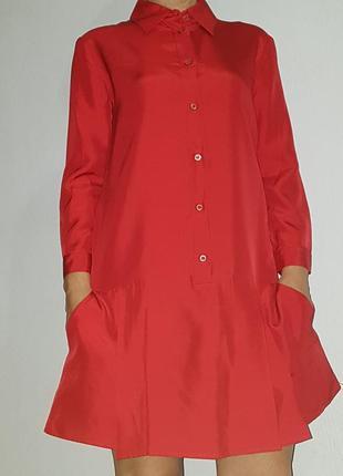 Шелковое платье-рубашка prada.