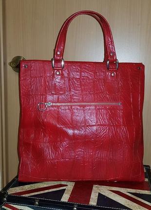 Шикарная красная сумка тиснение крокодил рептилия