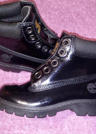 Стильные черные лаковые ботинки timberland 23р. унисекс