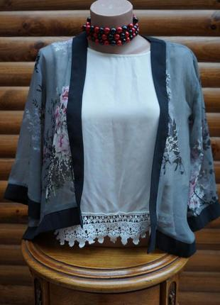 Кардиган, накидка без застежки,цветочный принт,накидка-кимоно