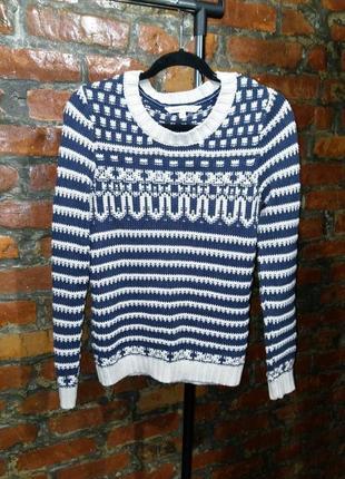 Стильный вязаный свитер джемпер грубой вязки из коттона