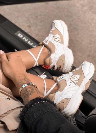 Крутые кроссовки new balance 608 white/beige (весна-лето-осень)😍