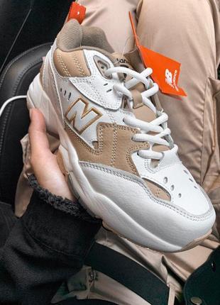 Крутые кроссовки new balance 608 white/beige (весна-лето-осень)😍5 фото