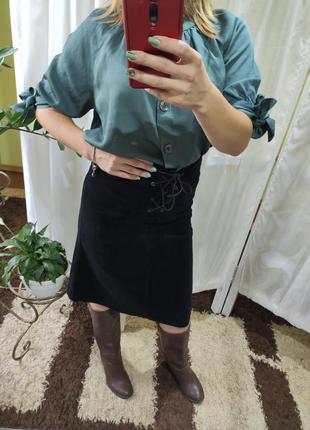 Идеальная вельветовая миди юбка на высокой посадке