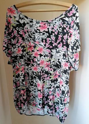 Туника\платье\удлиненная футболка батал большой размер 26\28 цветы yours (к060)