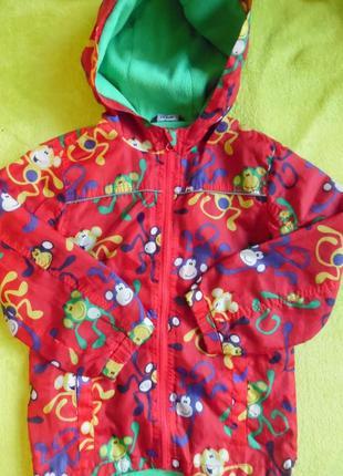 Куртка курточка ветровка с капюшоном яркая дождевик плащ 5-6 лет