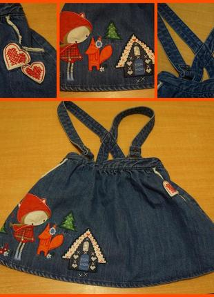Tu  джинсовая юбка с подтяжками 3-4 года спідниця підтяжками сарафан