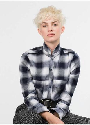 Фланелевая рубашка натуральная клетчатая блузка в клетку от zara
