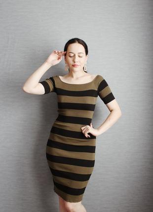 Модное платье-миди по фигуре цвета хаки в черную полоску от luckyyy