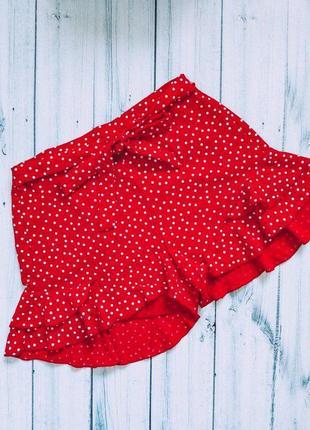 Шикарные шорты в горошек красные рюшики