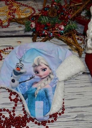 1 - 4 года фирменная теплая шапка ушанка модной девочке эльза frozen фрозен холо