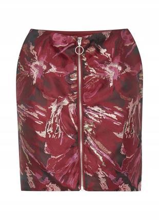 Шикарная юбка ichi дания на замке юбочка на молнии парча размер 36 и 38