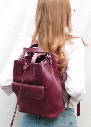 Кожаная сумка, кожаный рюкзак, рюкзачок трансформер
