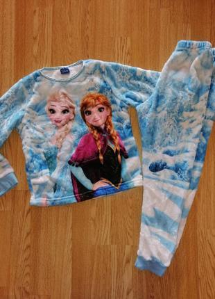 Пижама костюм на девочку ельза холодное сердце махровая тёплая