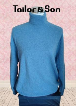 🌲🌲tailor & son 100% кашемир свитер гольф женский голубой меланж xl🌲🌲🌲