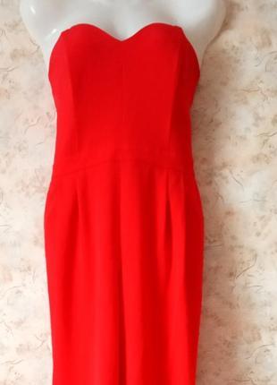 Стильный красный комбинезон, комбез бюстье от h&m, размер 12