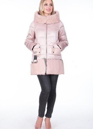 Модная зимняя куртка био-пух 19012 gessica sabrina от mishele с искусственным мехом