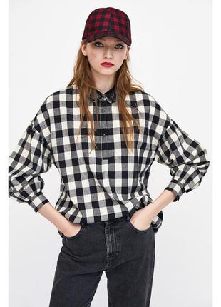 Хлопковая рубашка с принтом в клетку,  блуза