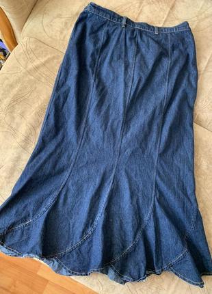 Джинсовая юбка длины макси большого размера